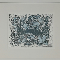 Winter Hare- original linocut print. For birthdays, Xmas, Nature lovers.