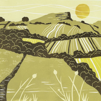 Roseberry Topping Linocut Print, Landscape, Birthday, Wedding Gift Nature