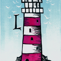 L is for Lighthouse original linocut print. Ideal for Bathroom or Childs room