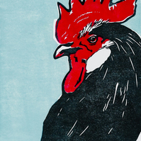 Pride Cockerel Original Linocut Print
