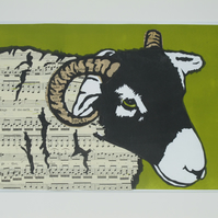 Sheep Music Original Linocut Print up cycled paper gift for music lover