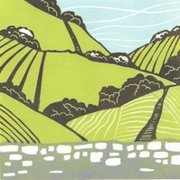 Over The Hills, Original Lino Print Landscape. Birthday, Wedding gift, Nature.
