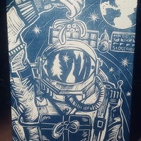 Linocut Christmas Card Spaceman Science Astronomy  for Man or Woman