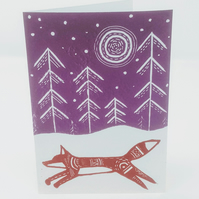 Linocut, Christmas Card Original Swedish Fox