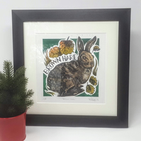 Linocut Print, Hare, Christmas, Birthday, Wedding Gift Animal