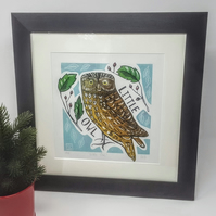 Linocut Owl Christmas Birthday Wedding gift Bird lovers