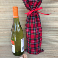 Red Tartan Fabric Botttle Bag