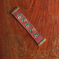 Hibiscus flower cork leather cuff