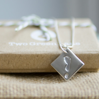 Fine Silver Footprint Necklace