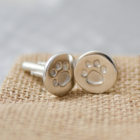 Personalised Silver Paw Print Cufflinks with your pet's actual print