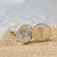 Fine Silver Hand and Footprint Cufflinks