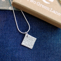 Fine Silver Square Shaped Necklace