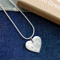 Fine Silver Heart Shaped Love Necklace