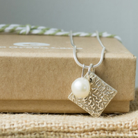 Silver Necklace with a Small Square Charm and Freshwater Pearl