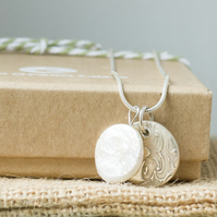 Silver Necklace with Circle Charm and Freshwater Pearl