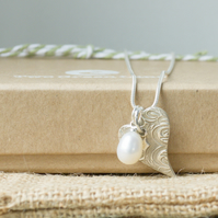 Silver Necklace with a Contemporary Heart charm and Freshwater Pearl