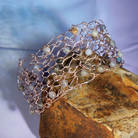 Wire bracelet, knitted, labradorite beads, one of a kind
