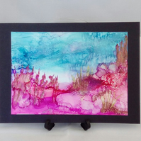 Seascape painting, alcohol ink, original art
