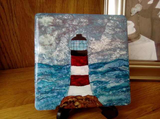 Painted lighthouse tile, bathroom decor, original, decorative tile