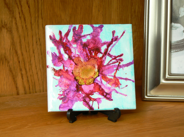Flower tile art, painted tile, one of a kind, home decor