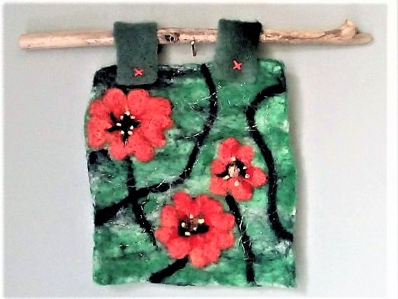 Felt flower picture, original, needle felt, wall hanging