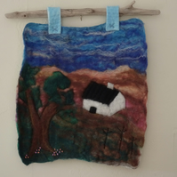 Felt landscape picture, wool art, one of a kind, fibre art