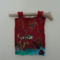 Felt seascape picture, textile art, wet felt, needle felting,original