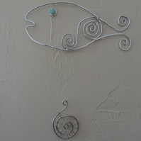 Wire fish wall art, wire decoration, wire wall hanging, one of a kind
