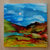 Hand painted landscape artistic tile, one of a kind,wall art