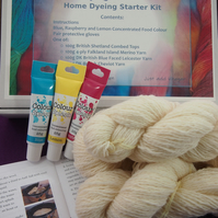 Wool Dyeing Kit with British Cheviot Double Knitting Yarn