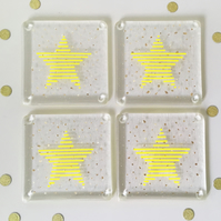 Set of four star glass coasters