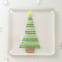 Christmas tree glass coaster