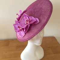 Crocus saucer hat with orchid spray