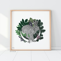 Summer Hare Giclée Print on Luxury Somerset Stock