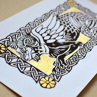 Beastie - Limited Edition Lino Print - Gold - Other Colours Available