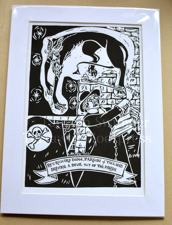 Reverend Dodge Driving a Devil out of the Parish - Lino Print - Limited Edition