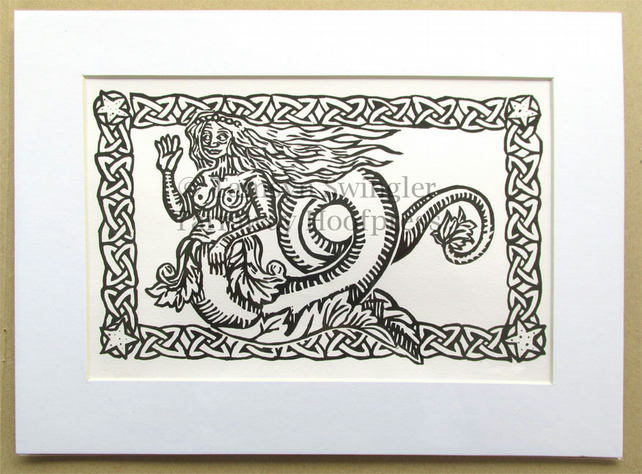 Mermaid in White - Lino Print - Limited Edition