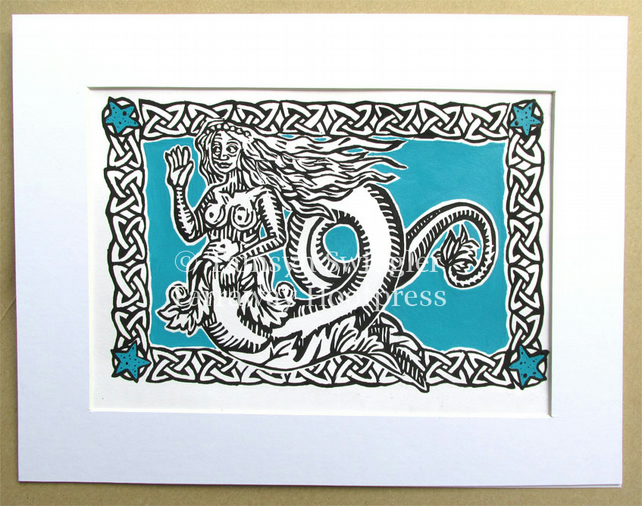 Mermaid in Turquoise - Lino Print - Limited Edition