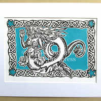 The Mermaid - Turquoise - Gold - White Variations - Lino Print - Limited Edition
