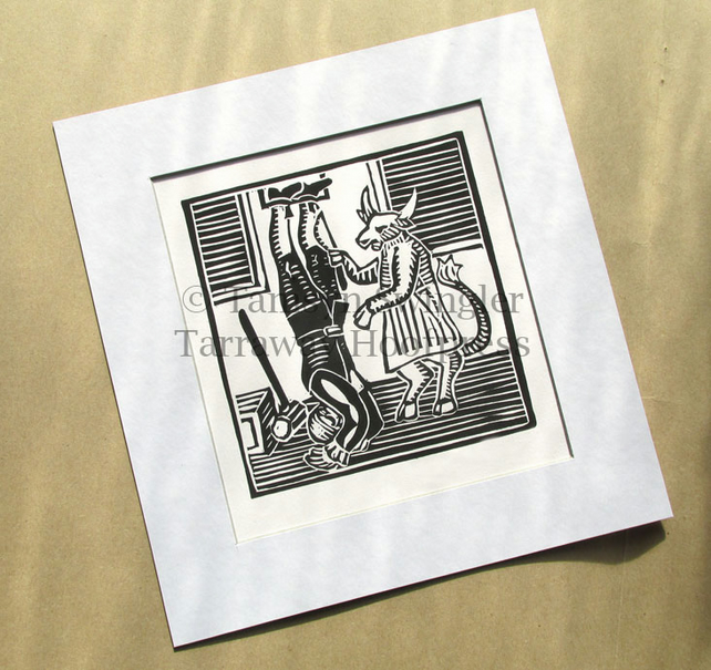 The Ox Turn'd Butcher - Lino Cut - Limited Edition