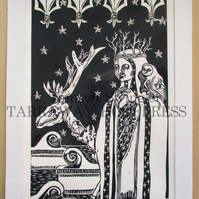 Winter Cometh - Limited Edition Linoprint - In Dark Blue