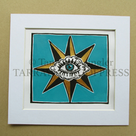 All Seeing Eye - Limited Edition LinoPrint, Coloured by Hand