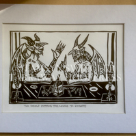 Two Devils Putting the World to Rights - Limited Edition - Linoprint