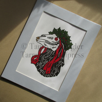 Pen Hood - Colour - Penzance Obby Oss - Mari Lwyd - Limited Edition Lino Print
