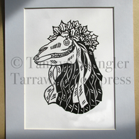 Pen Hood - Penzance Obby Oss - Mari Lwyd - Limited Edition Lino Print