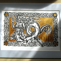 Mermaid In Gold - Limited Edition Linoprint