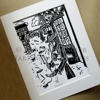 Five (V) of Blades - Plague Doctor - Limited Edition Lino Print based on Tarot