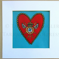 Sacred Steampunk Heart in Turquoise - Limited Edition Lino Print