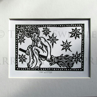 The Witch - Original Lino Print - Limited Editions - Line or Black Fill Options