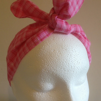 Handmade Retro style  pink tartan self tie Rosie wrap head band
